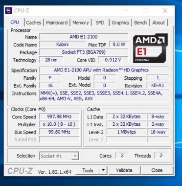 HP 255 G2 - CPU-Z procesor