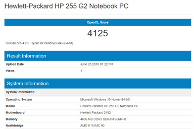 HP 255 G2 - GeekBench OpenCL