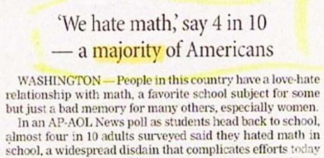 'We hate math,' say 4 in 10 - a majority of Americans