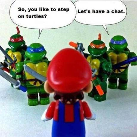 "TMNT @ Mario: ""So, you like to step on turtles? Let's have a chat!"""