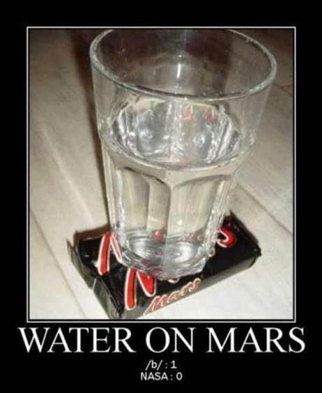 Water on Mars --- /b/: 1  NASA: 0