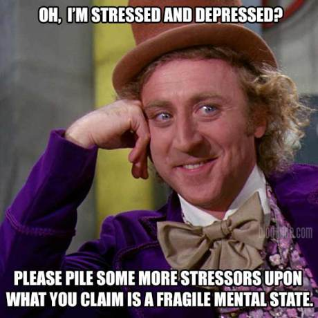 Oh, I'm stressed and depressed? Please pile some more stressors upon what you claim is a fragile mental state!