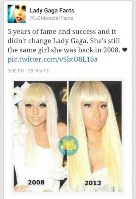 "Lady Gaga Facts @LGMonsterFacts: ""5 years of fame and success didn't change Lady Gaga. She's still the same girl she was back in 2008. <3 http://pic.twitter.com/vSbtO8L16a"""