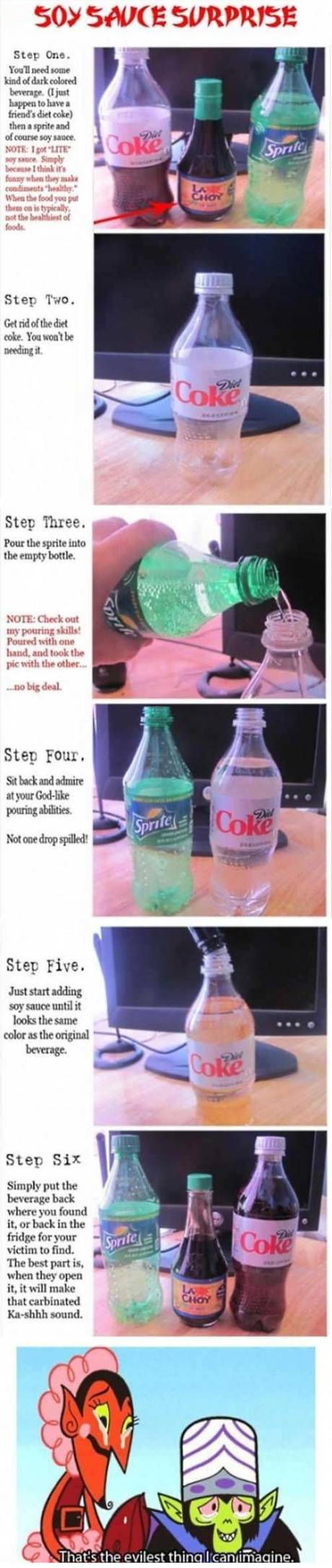 """April Fool's Prank: """"Soy Sauce Suprise""""  Combine Sprite and Soy Sauce in a Diet Coke bottle"""