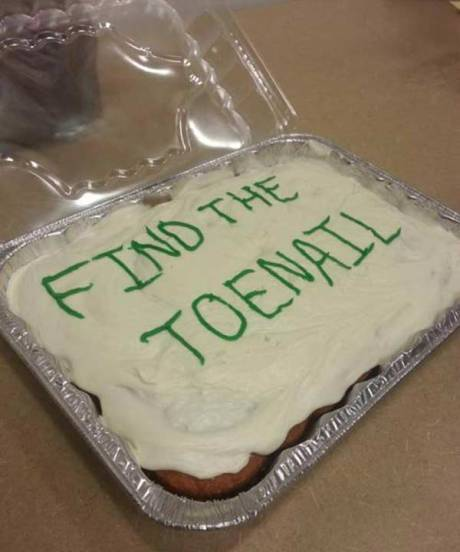 "Birthday Cake: ""Find the Toenail"""