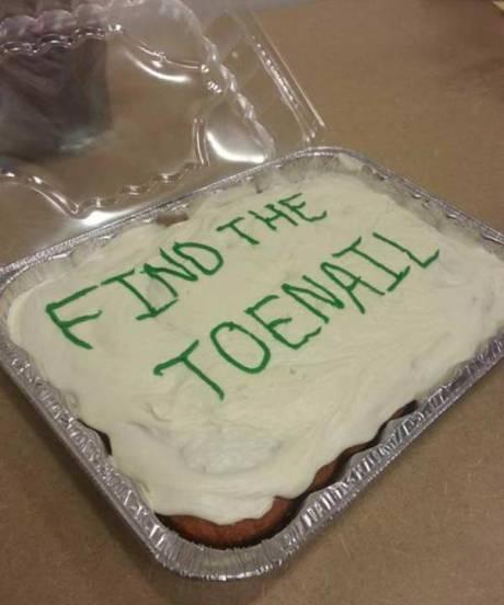 "Birthday Cake: ""Find the Toenail"""