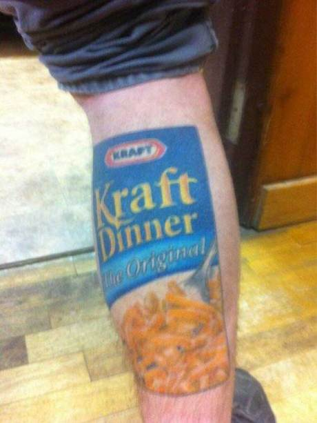 Kraft Dinner, The Origina, Macaroni and Cheese Tattoo.