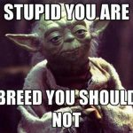 Stupid you are. Breed, you should not.