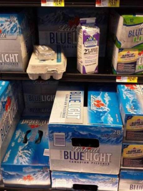 Milk, Eggs and Cream Cheese in the Beer Section