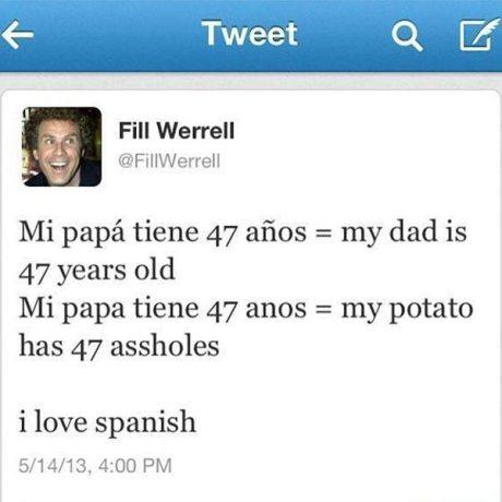 "Fill Werrell: ""Mi papá tiene 47 años = My dad is 47 years old. Mi papa tiene 47 anos = My potato has 47 assholes. I love spanish."""