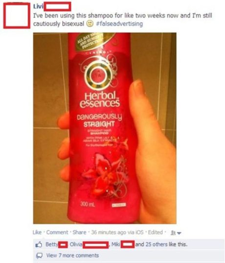 "Herbal Essences ""Dangerously Straight"" Shampoo Comment from Facebook: ""I've been using this shampoo for like two weeks now and I'm still cautiously bisexual. :( #falseadvertising"""