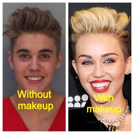 Justin Beiber: Without and With Makeup