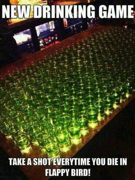 New Drinking Game: Take a shot everytime you die in Flappy Bird!