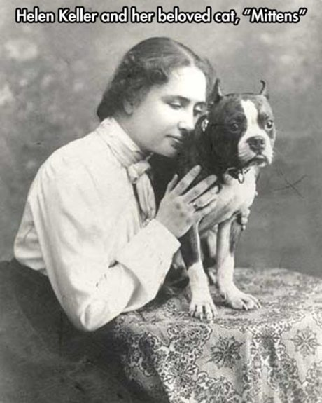 "Helen Keller and her beloved cat, ""Mittens"""