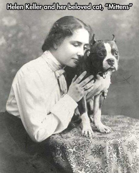 "Helen Keller and her beloved cat, ""Mittens"""