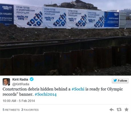 "Twitter @KiritRadia: ""Construction debris hidden behind a #Sochi is ready for Olympic records"" banner. #Sochi2014""  Pic: Construction debris."