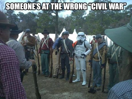 "Storm Trooper at Civil War Reenactment: ""Someone's at the wrong Civil War."""