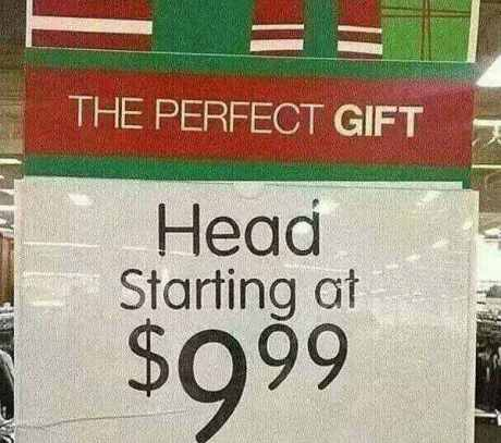 "Target Ad: ""The Perfect Gift - Head starting at $9.99"""