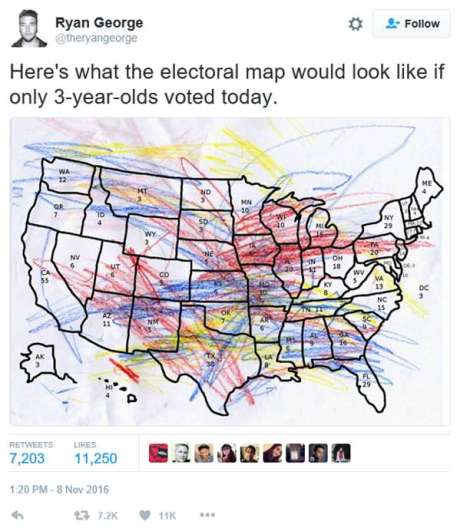 """Twitter - Ryan George: """"Here's what the electoral map would look like if only 3-year-olds voted today."""""""