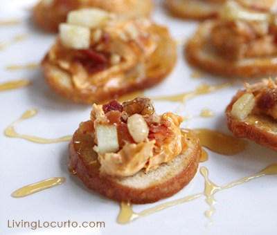 Pumpkin, Bacon & Goat Cheese Appetizers drizzled with honey - image livinglocurto.com