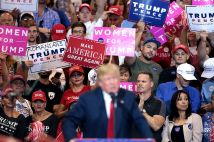 Supporters of Donald Trump speaking at a campaign rally at the Phoenix Convention Center in Phoenix, Arizona.