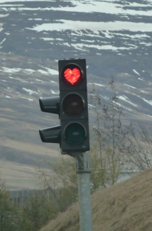 In Akureyri Iceland all the street lights have hearts. Photo: Wikimedia