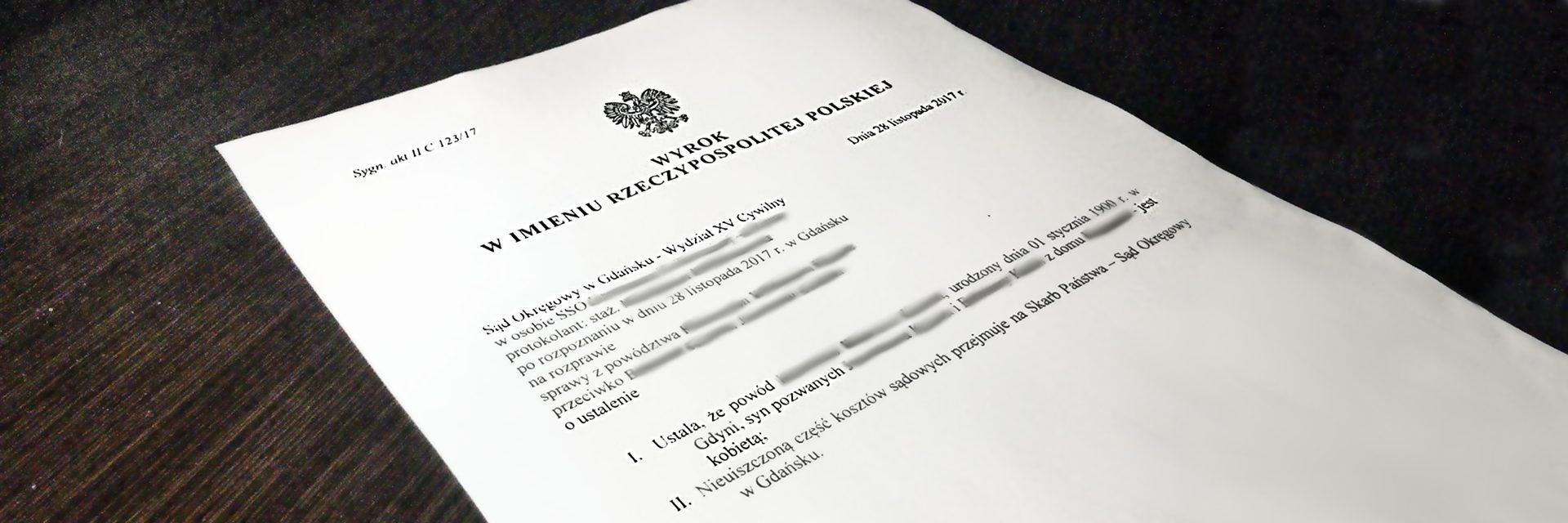 Przykładowy wyrok polskiego sądu okręgowego
