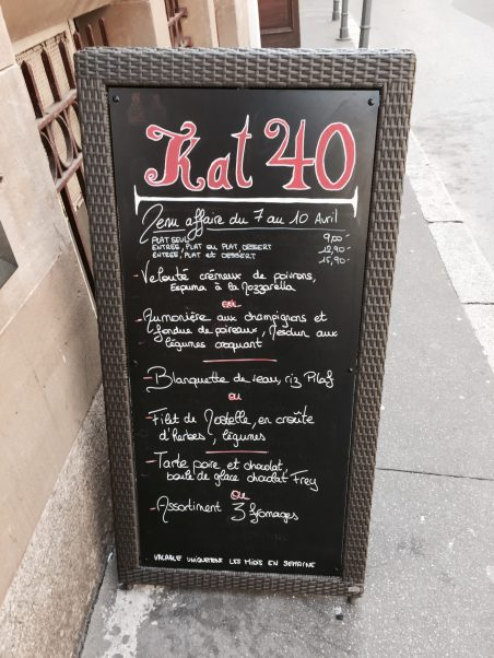 KAT40 restaurant bar strasbourg menu