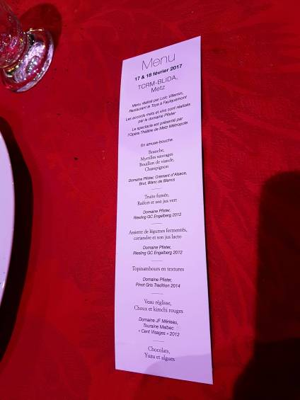 Diner insolite du patrimoine metz 2017 TCRM BLIDA menu