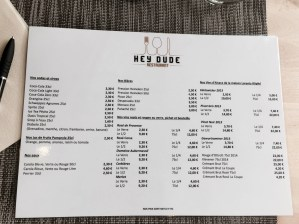 Hey Dude restaurant Strasbourg menu