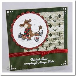 , Zimowa krówka na świątecznej kartce :)