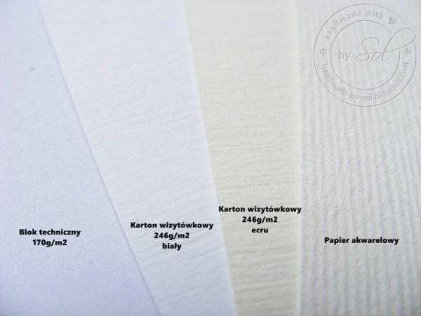 porównanie czterech różnych rodzajów papieru