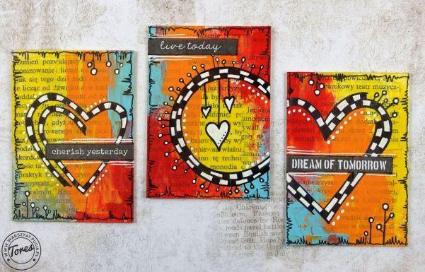 "Seria trzech kart na temat ""Serce""."