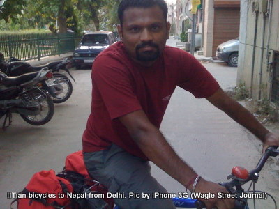 An IIT graduate Indian bicycles from Delhi to Nepal making Kathmandu the destination