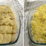 A burgonyát karikára vágta, felszeletelte a csirkemellet és elkészítette a világ legegyszerűbb ebédjét!