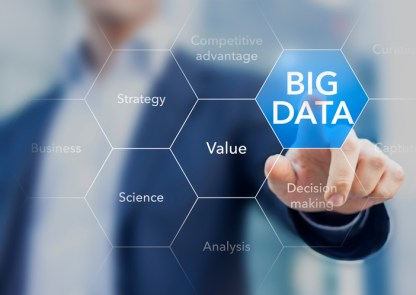 Big data business scientist presenting the concept