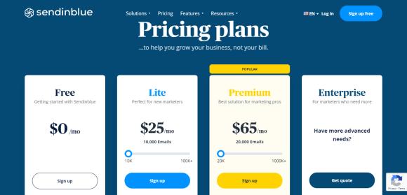 Send in blue Pricing Plan