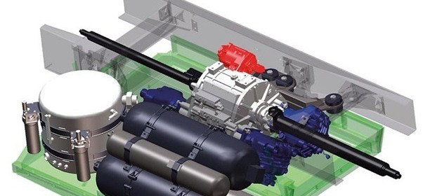 hydraulic hybrid system-Hydraulic hybrid vehicles-HHV-hydraulic motors to power wheels-accumulators to store the pressurized fluid nitrogen gas