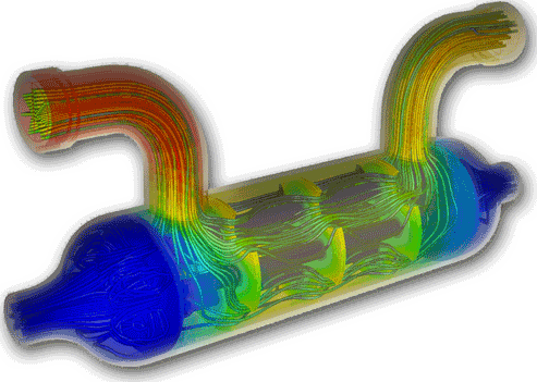 Solidworks COSMOS cfd_heat_exchanger-flow-simulation-heat-transfer-rates-mass-flow-rates-pressure-drops