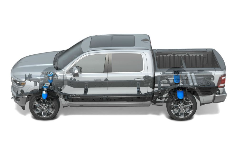medium resolution of schematic view of the 4 corner air suspension of the 2019 ram 1500