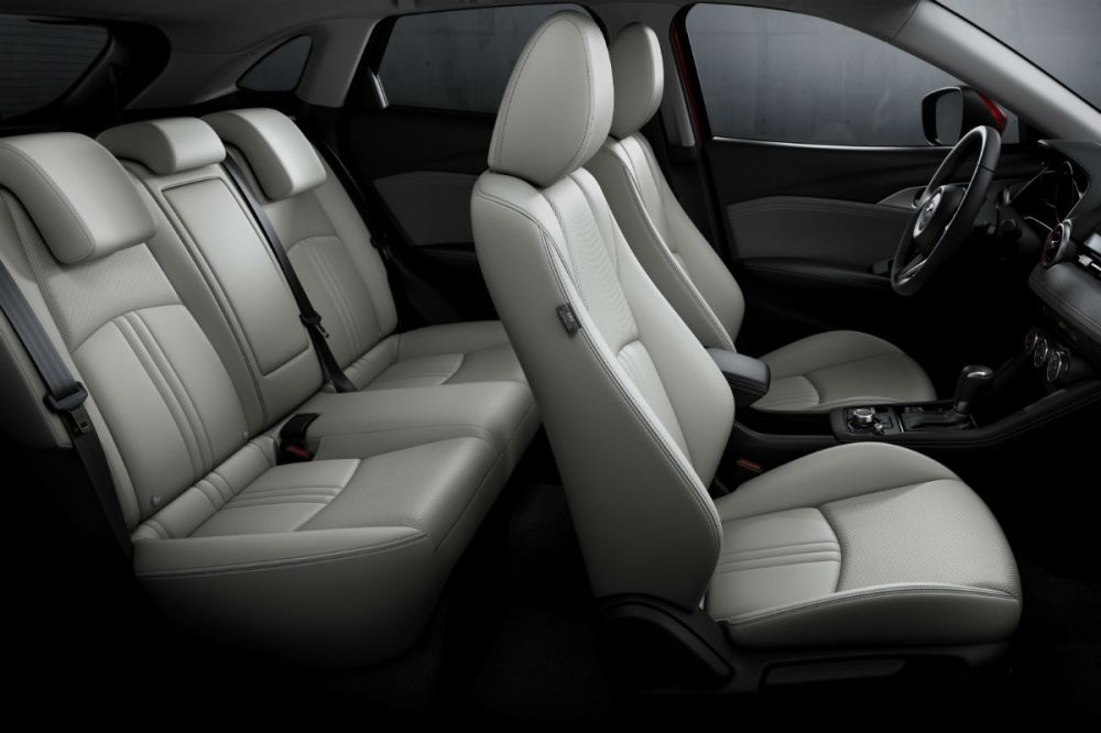medium resolution of side view of the two rows of seating in the 2019 mazda cx 3