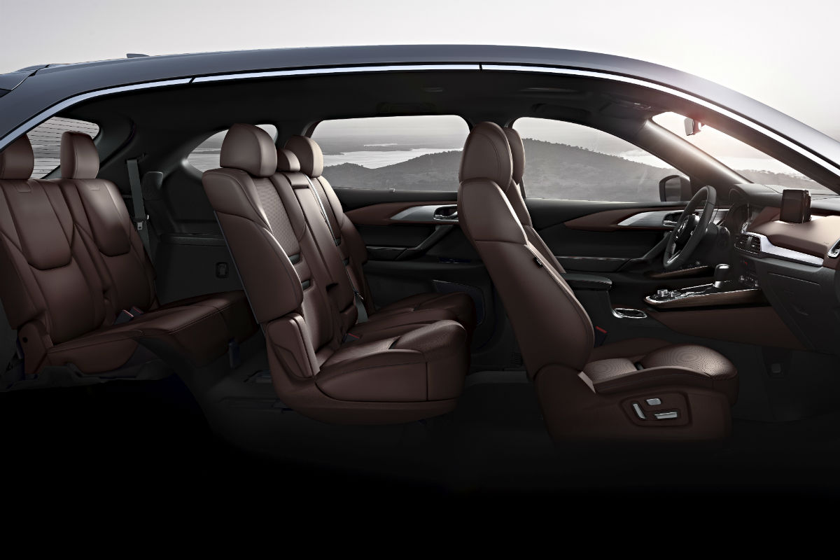 hight resolution of side view of the three rows of seating in the 2019 mazda cx 9