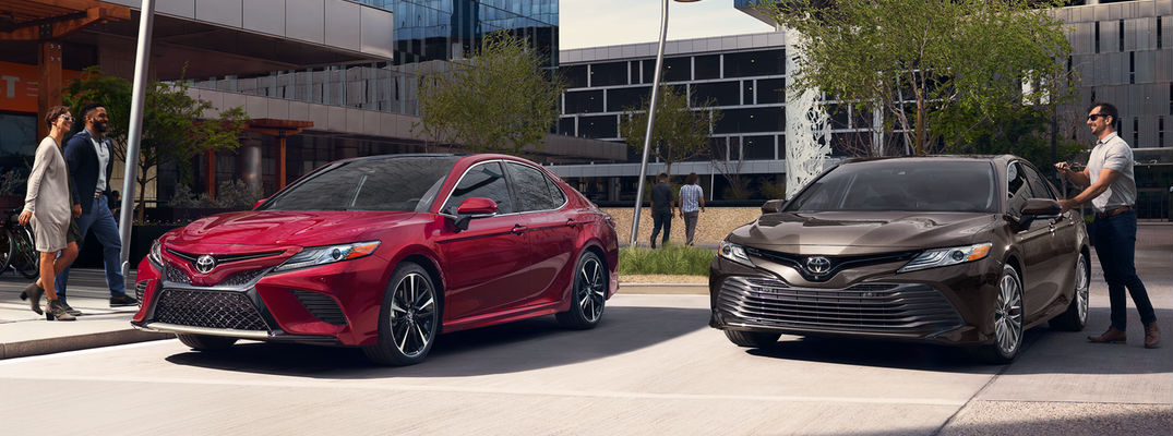 all new camry 2018 interior headlamp grand veloz what are the toyota color options ruby flare pearl and brownstone models parked by office buildings