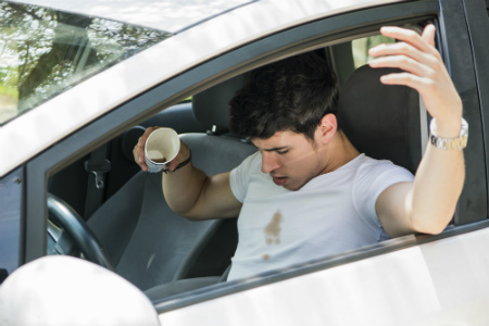 Image result for spilling coffee driving