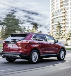 side view of a red 2019 ford edge [ 1200 x 660 Pixel ]