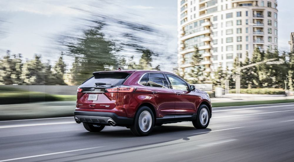 medium resolution of  side view of a red 2019 ford edge
