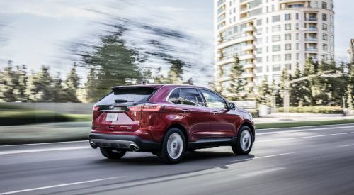 small resolution of  side view of a red 2019 ford edge