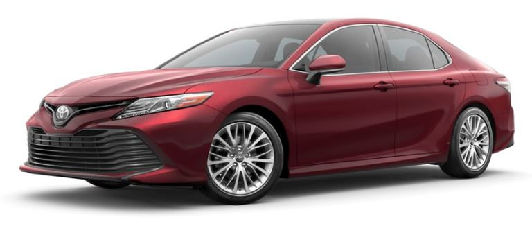 all new camry 2019 interior 2.5 v a/t available toyota and exterior color options ruby flare pearl on white background