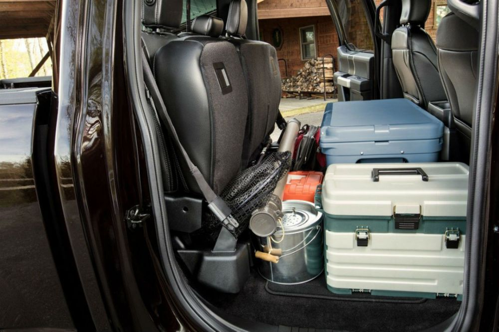 medium resolution of 2018 ford f 150 s rear seats folded up and full of cargo