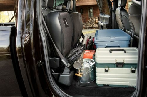 small resolution of 2018 ford f 150 s rear seats folded up and full of cargo